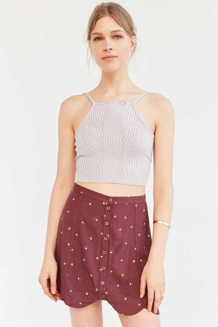 Cooperative Scalloped Button-Front Mini Skirt