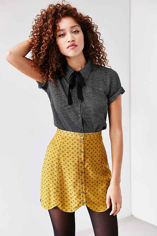 Cooperative Scalloped Button-Front Mini Skirt,MUSTARD,12