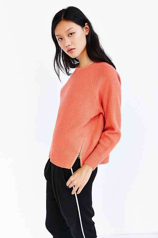Silence + Noise Double Zip Sweater,PEACH,M