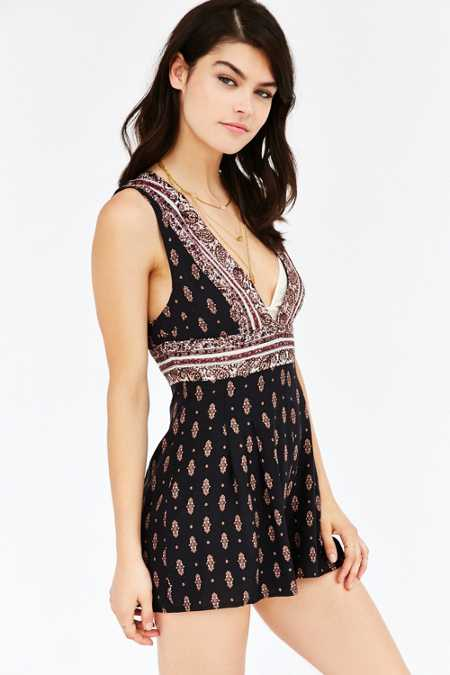 Ecote Paisley Plunge-Front Romper