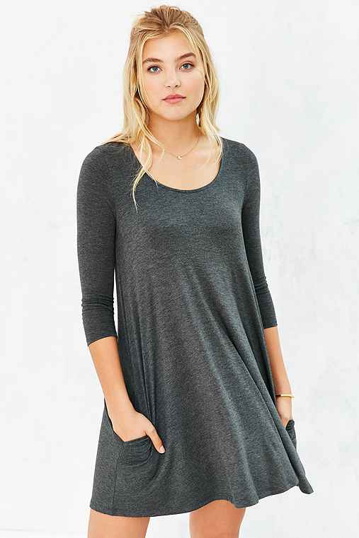 BDG 3/4 Sleeve Swingy Tee Dress,DARK GREY,M