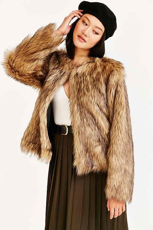 Numph Gitte Faux Fur Jacket,BROWN,M