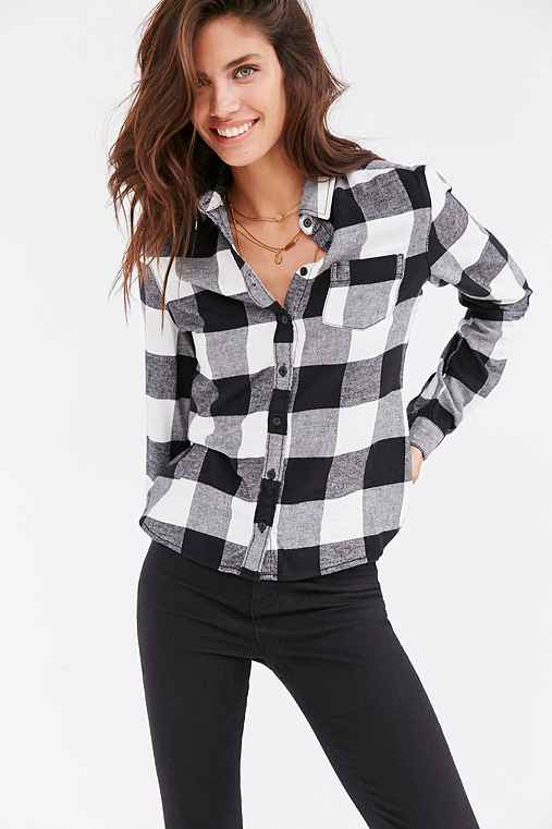 BDG Katie Flannel Button-Down Shirt,BLACK & WHITE,M