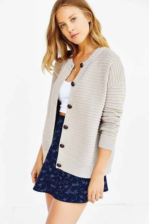 Cooperative Textured Stitch Cardigan,LIGHT GREY,S