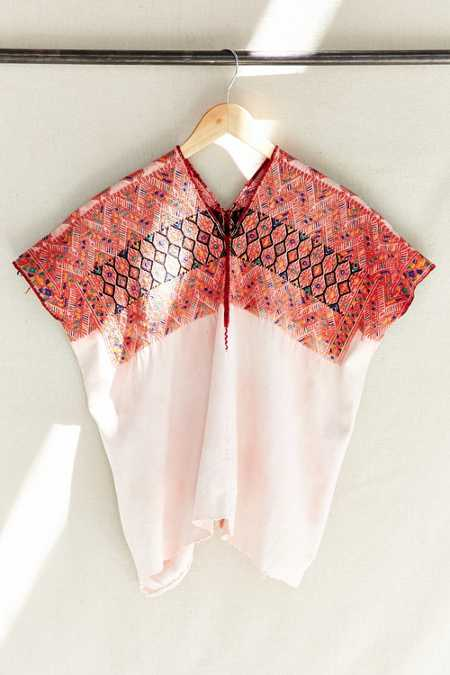 Vintage Peach Washed Huipil Top