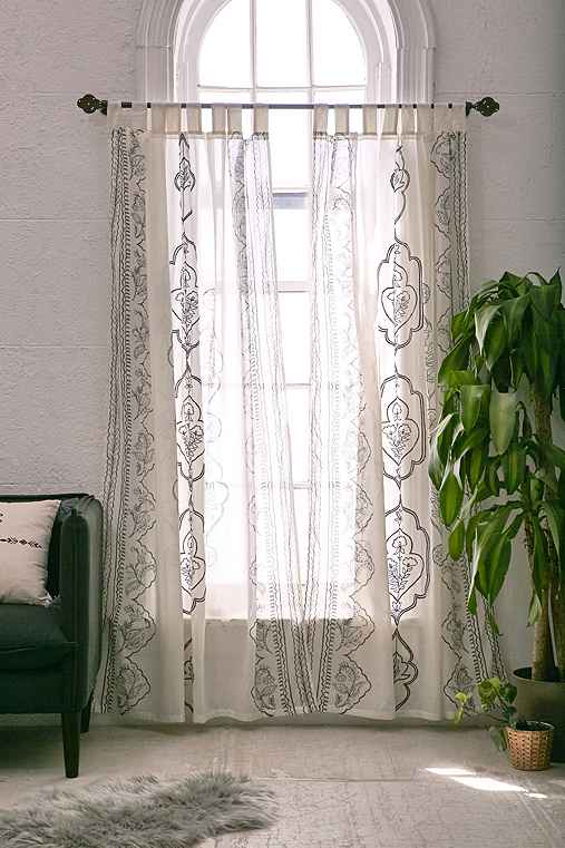 Plum & Bow Jazmin Embroidered Curtain,DARK GREY,52X84