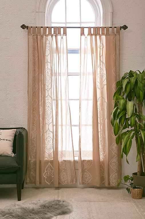 Plum & Bow Jazmin Embroidered Curtain,TAUPE,52X96