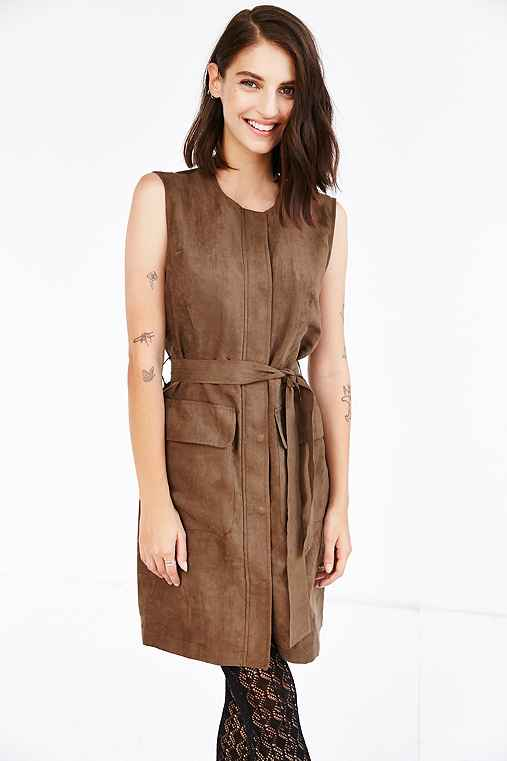 Shades Of Grey By Micah Cohen Trench Shift Dress,KHAKI,L