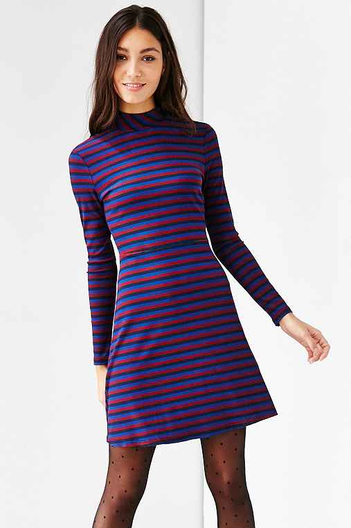 Glamorous Stripe Mock-Neck Dress,BLUE MULTI,XS
