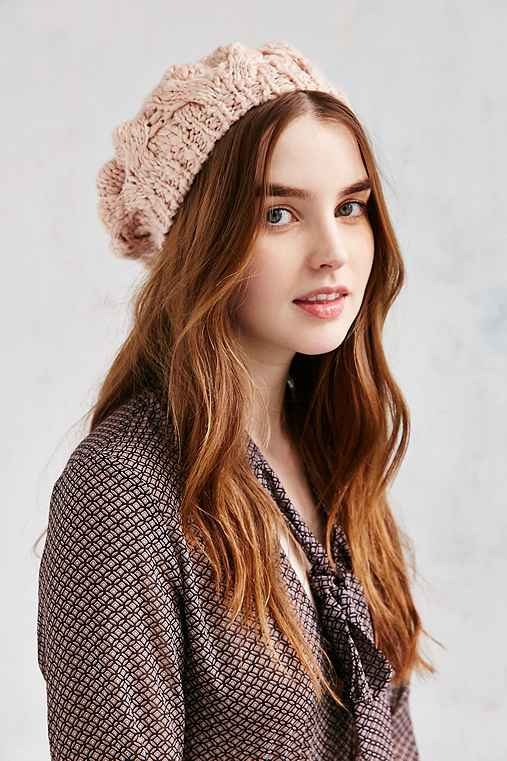 Braided Cable Beret,ROSE,ONE SIZE