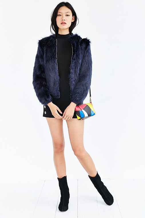 Silence + Noise Faux Fur Zip-Up Jacket,NAVY,M