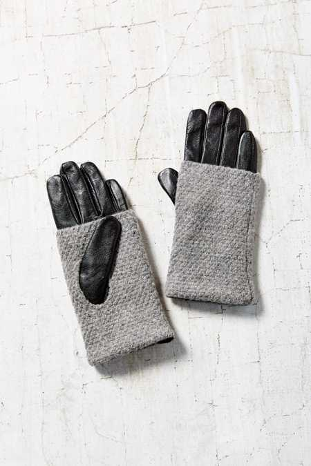 Fuzzy Knit Leather Glove - Urban Outfitters