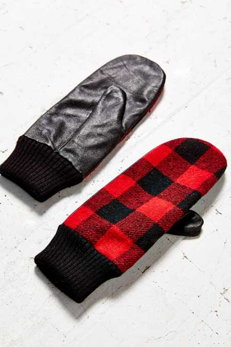 Buffalo Check Leather Mitten