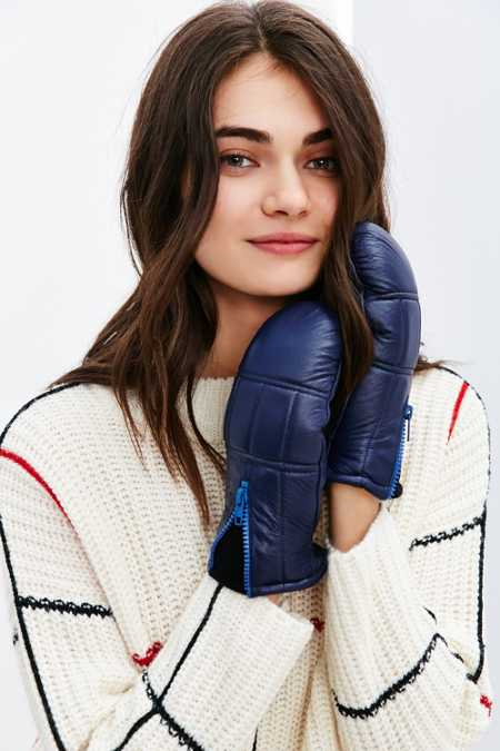 Quilted Zip Leather Puffer Mitten