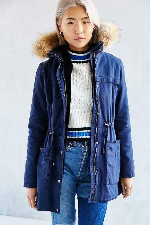 Faux Fur Hooded Field Jacket,NAVY,M