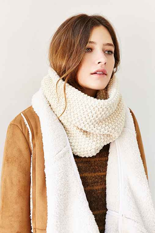 Seed Stitch Funnel Scarf,IVORY,ONE SIZE