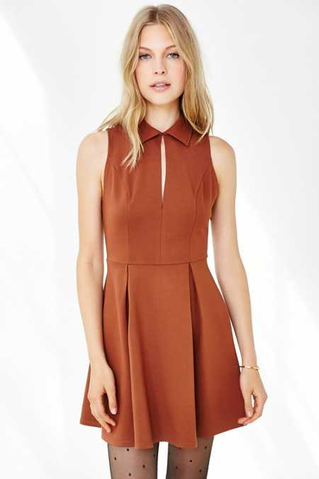 Cooperative Ponte Collared Keyhole Dress