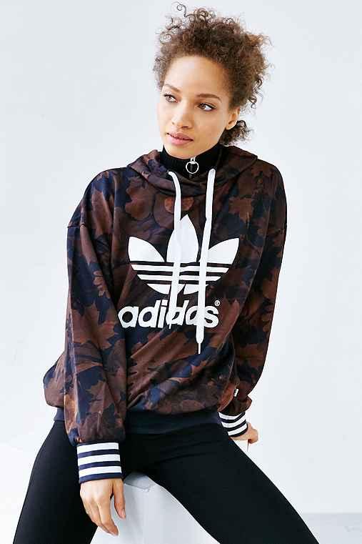 adidas Originals Leaf Camo Hoodie Sweatshirt,MULTI,XS