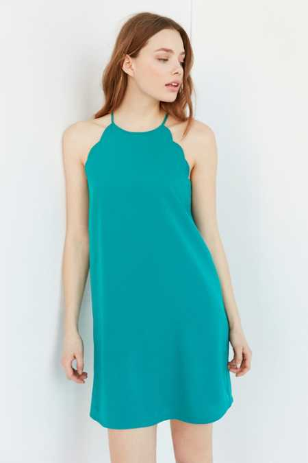 Cooperative High Neck Scallop Frock Dress