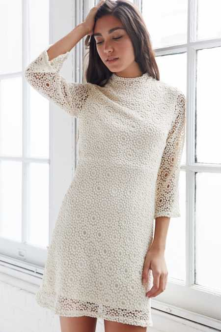 Cooperative Lace Mock-Neck Dress