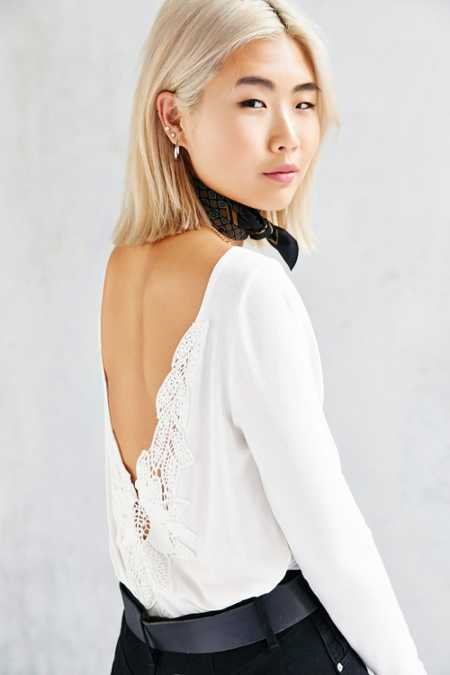 Ecote Crochet-Back Tunic Top