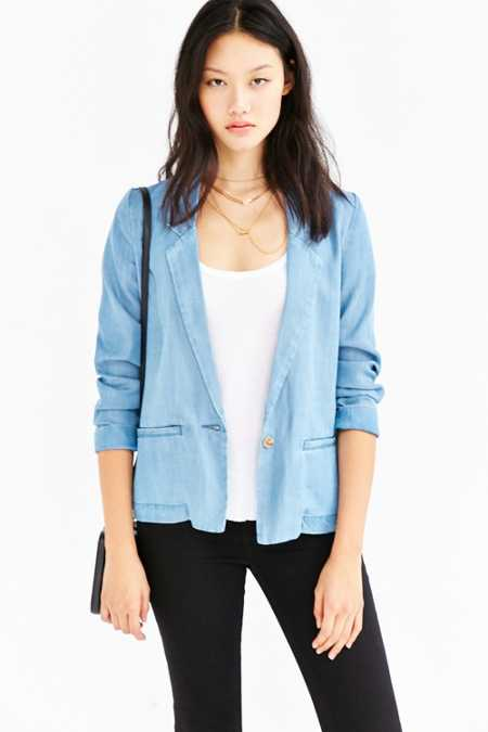Silence + Noise Classic Chambray Blazer