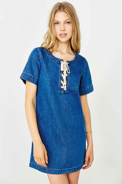 Glamorous Denim Lace-Up Shift Dress,VINTAGE DENIM MEDIUM,XS