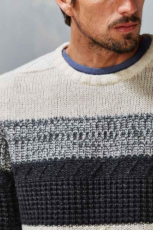 CPO Woburn Aran Stripe Sweater,CREAM,M