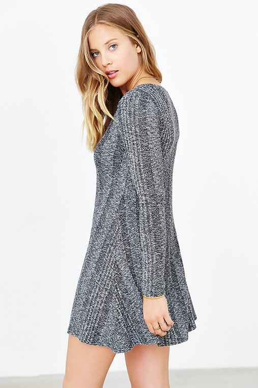 BDG Camp Sweater Dress,GREY MULTI,L