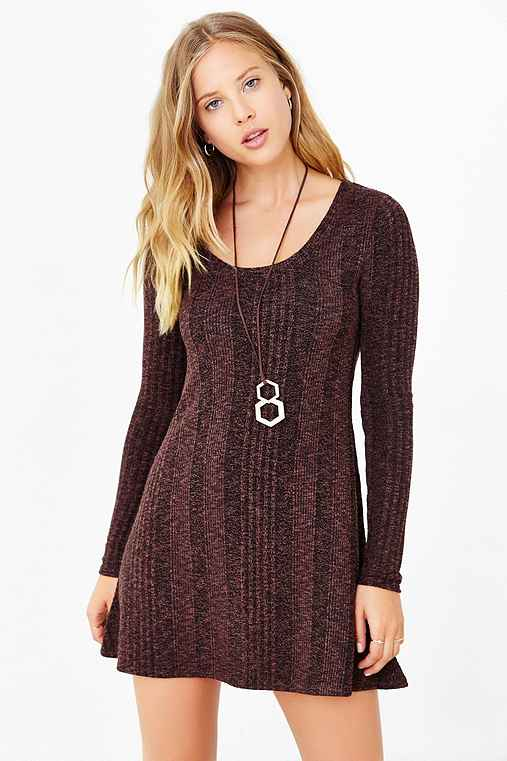 BDG Camp Sweater Dress,BROWN MULTI,XS