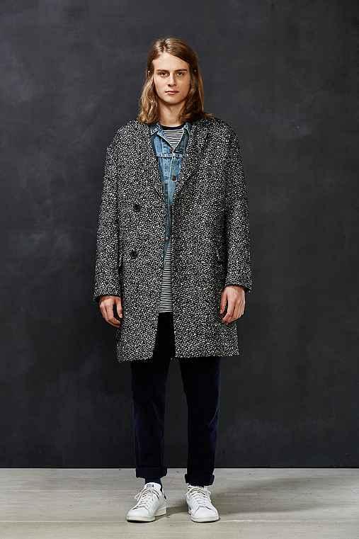 PLAC Boucle Wool Tweed Top Coat,BLACK,L