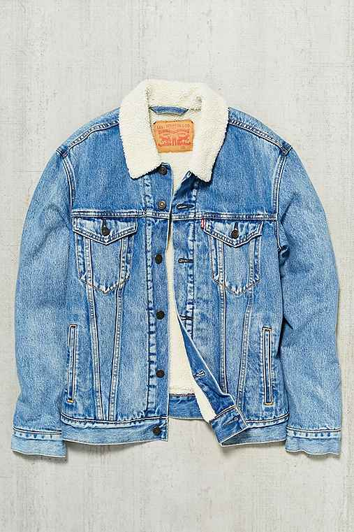 Levi's Youngstown Sherpa Denim Trucker Jacket,LIGHT BLUE,M