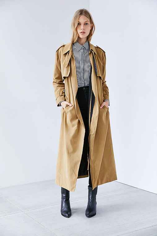 Neon Rose Trench Coat,TAUPE,L