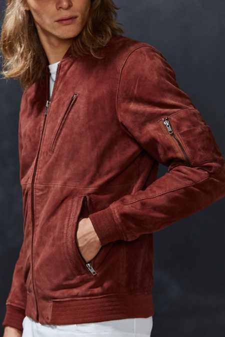 Your Neighbors Marius Suede Bomber Jacket