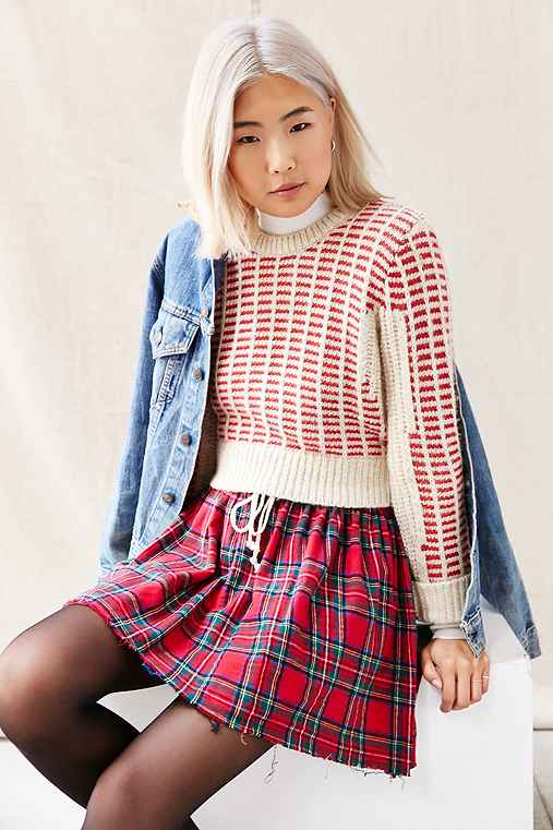 Urban Renewal Recycled Plaid Flannel Mini Skirt,RED,S