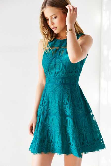 Chandi & Lia Lace Fit + Flare Dress