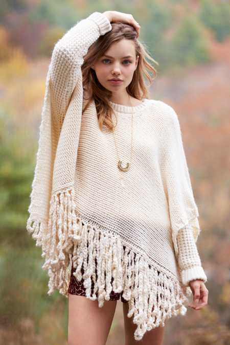 Wild Child Knit Fringed Poncho