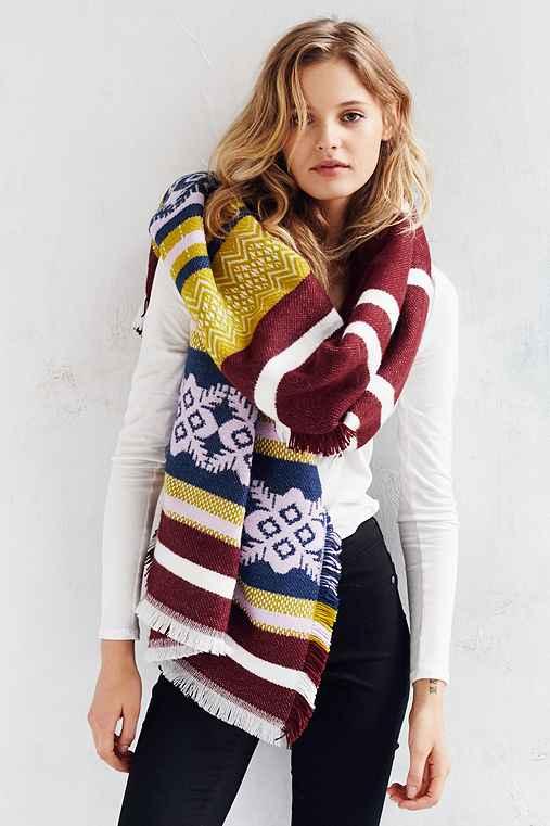 Multi Stripe Blanket Scarf,BLUE MULTI,ONE SIZE