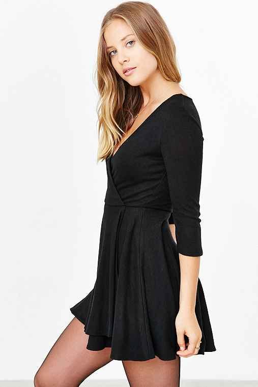 Kimchi Blue Cozy Ballet Wrap Dress,BLACK,S