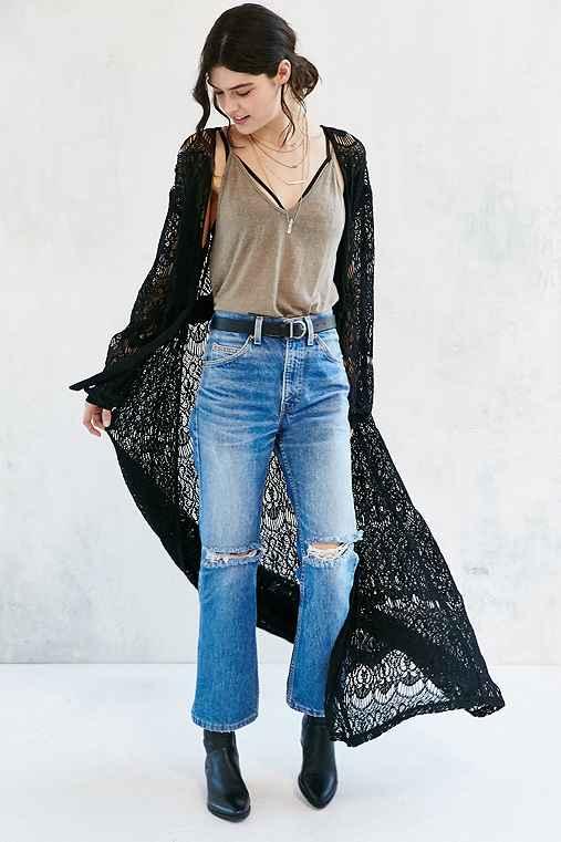Somedays Lovin Runaway Lace Duster Jacket,BLACK,S