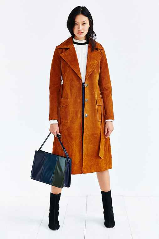 Ecote Suede Trench Coat,BROWN,M