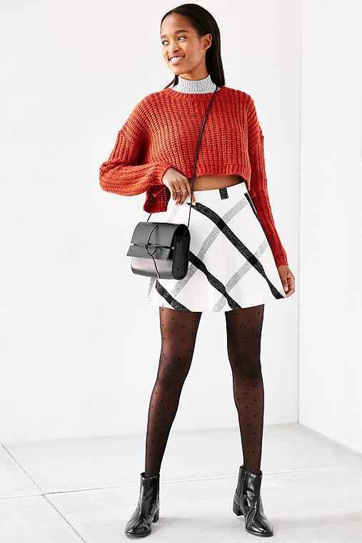 BDG Plaid Bias Cut Circle Skirt,BLACK & WHITE,10