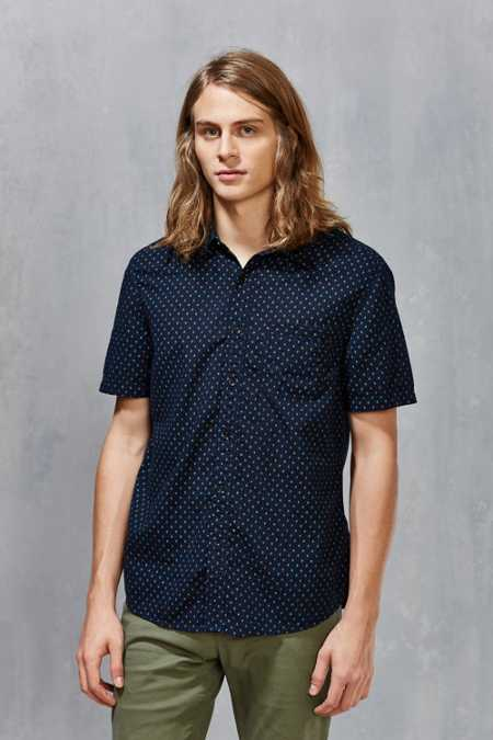 CPO Short-Sleeve Diamond Dot Button-Down Shirt