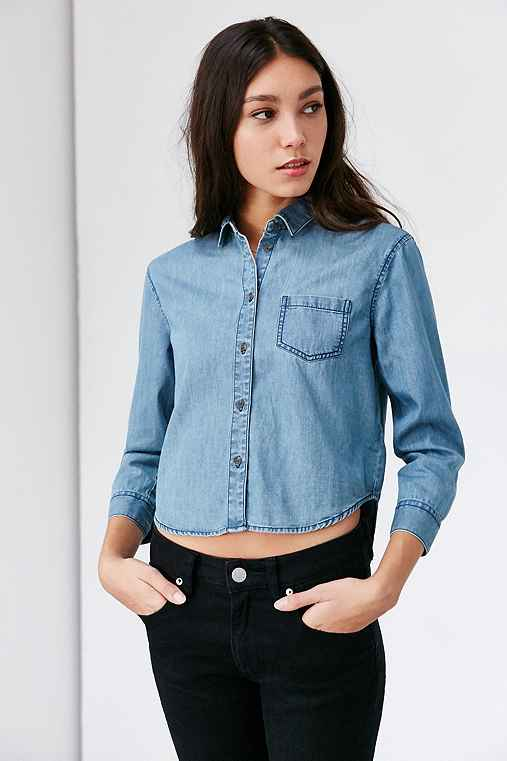 BDG Colin Cropped Chambray Button-Down Shirt,VINTAGE DENIM LIGHT,S