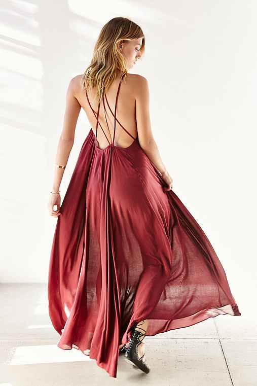 Ecote Lacey Cutout Maxi Dress,MAROON,M