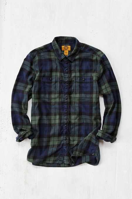 Men 39 s shirts for sale urban outfitters for Black watch plaid flannel shirt
