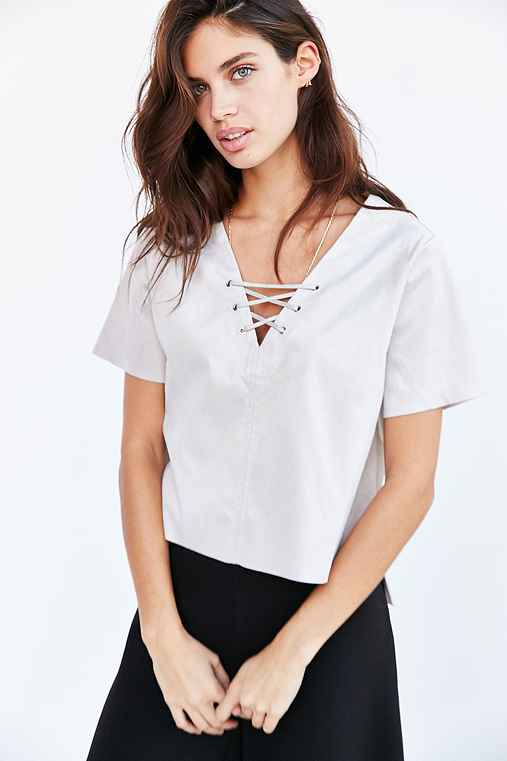 Glamorous Faux Suede Lace-Up Top,GREY,M