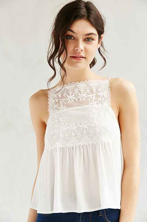 Kimchi Blue Embroidered Square Neck Cami,WHITE,L