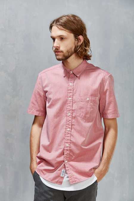 CPO Short-Sleeve Herringbone Button-Down Shirt