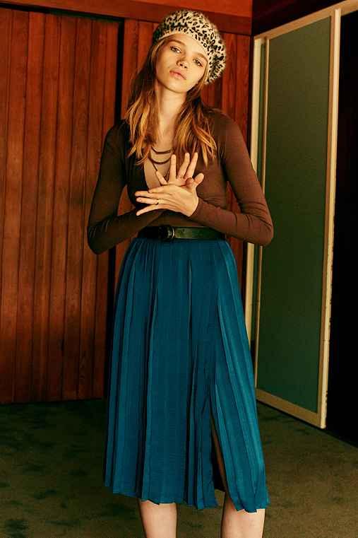 Ecote Anika Pleated Midi Skirt,TEAL,6